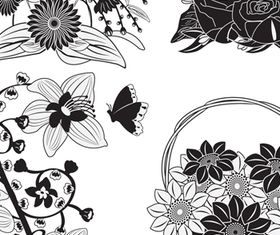 Black Flowers Templates 2 vector