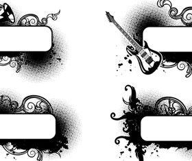 Grunge black Labels 1 vector