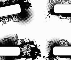 Grunge black Labels 2 vector