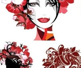 girl head with flowers vectors material