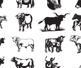 Cows and Bulls silhouette 1 vector