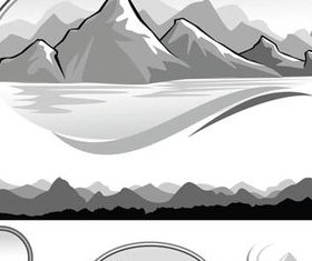 Hand drawn Mountain Landscapes 2 vector graphics