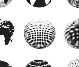 Black and white globe icons 2 vectors