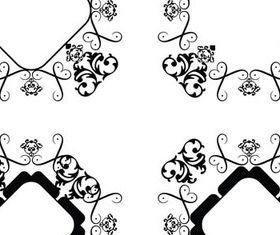 Black Swirl Ornament Frames 1 set vector