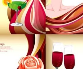 beauty wine and dynamic lines background design vector