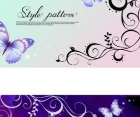 purple dream butterfly pattern background vector