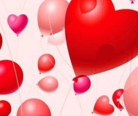 Heart-shaped balloons vectors material