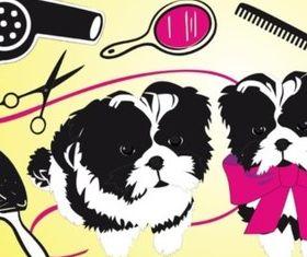 Cute Dogs Beauty Salon vector set