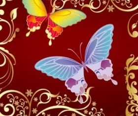 Fashion beautiful pattern and color butterfly background vector