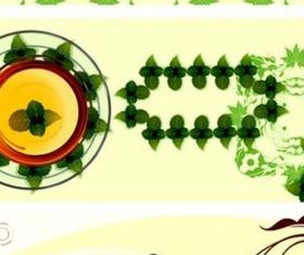 Fresh leaves and transparent cup background vector