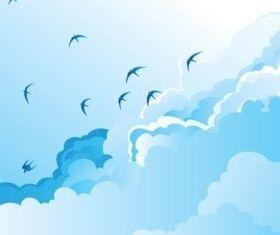 Birds in Sky vectors material