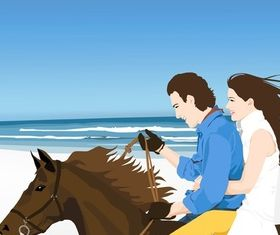 Horse Riders on Beach shiny vector