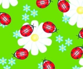 Cute Ladybug flowers continuous background vector graphic