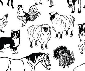 Different domestic animals silhouette 1 vector material