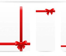 Red Ribbons with bow 1 vectors graphics