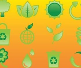 Glossy Nature Icons vector set