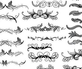 Curled Floral Ornaments Illustration 1 vector
