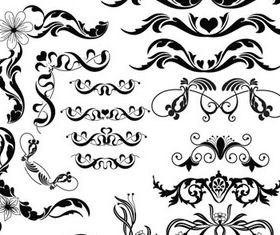 Curled Floral Ornaments Illustration 2 vector