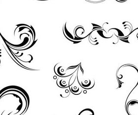 Curled Floral Ornaments Illustration 4 vector