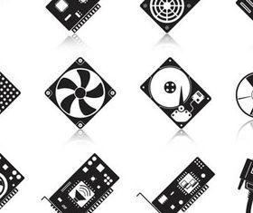 Different Computer Components Illustration 2 vector design