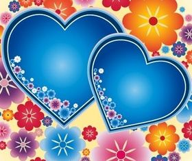 Cute blue heart and flower background vector
