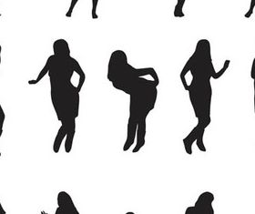 Different Body in poses silhouette 1 vector set