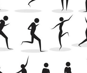 Different Body in poses silhouette 2 vector