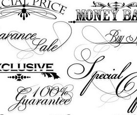 Calligraphy Shopping design elements 2 set vector