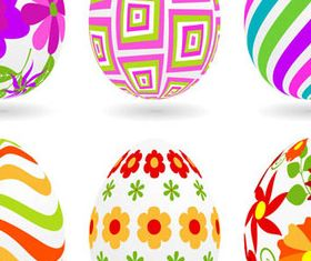 Colored Floral Easter Eggs 1 vector