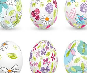 Colored Floral Easter Eggs 2 vectors material