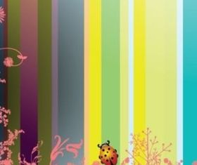 Flowers and insects background design vectors