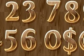 Glod and wood number creative vector
