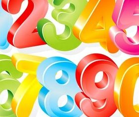 Three-dimensional colorful number vector material