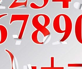 Bright number sticker vector