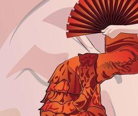 Classical Oriental women vector