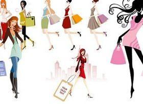 Different fashion shopping girl Illustration vector