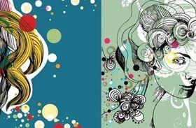 Elements women illustration vectors material