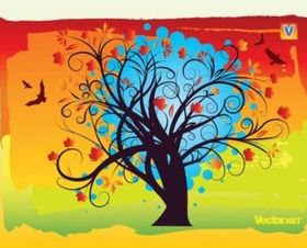 Autumn Tree background vector material