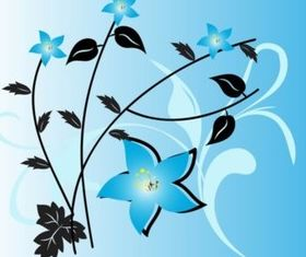 Blue Flowers background set vector