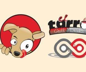 Restaurant Logo With Dog vector