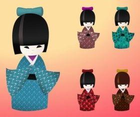 Japanese Dolls vector