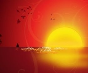 Seaside Sunset vector set