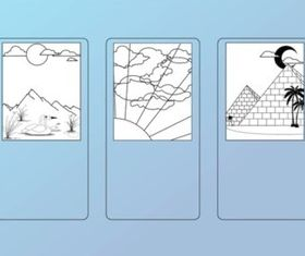 Landscape Cards vectors graphics