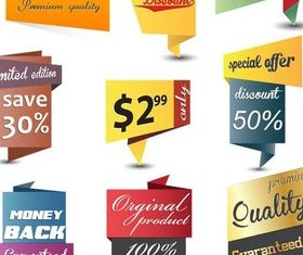 Origami Discount Stickers vector
