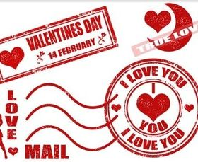Valentines Stamps vector design