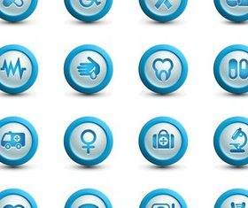 Medical Blue Icons vector graphic