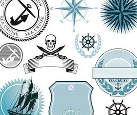 Marine Style Labels set vector