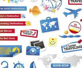 Shiny Travel Elements vector