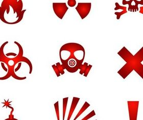 Red Hazards Symbols design vectors