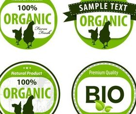 Organic Green Labels vector graphic